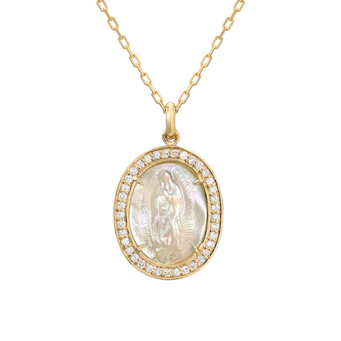 14K Gold Virgin Mary Miraculous Medal Mother of Pearl & Pavé Diamond Charm Necklace, LIMITED EDITION