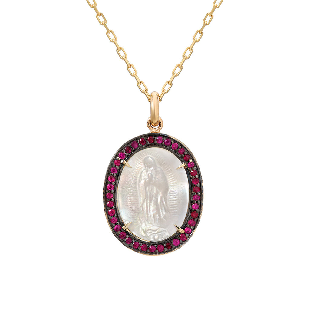 14KY Gold Miraculous Medal on 16 Inches Pearl Necklace