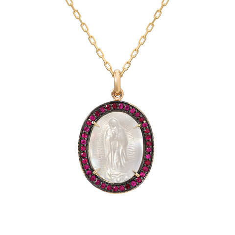 14K Gold Virgin Mary Miraculous Medal Mother of Pearl & Pavé Ruby Charm Necklace, LIMITED EDITION