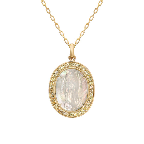 14K Gold Virgin Mary Miraculous Medal Mother of Pearl & Pavé Yellow Sapphire Charm Necklace, LIMITED EDITION