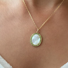 14K Gold Virgin Mary Miraculous Medal Mother of Pearl & Pavé Tsavorite Garnet Necklace, LIMITED EDITION