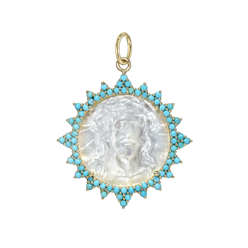 14K Gold Jesus Christ Miraculous Medal Mother of Pearl & Starburst Pavé Turquoise Charm Pendant, LIMITED EDITION