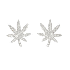 14K Gold Marijuana Leaf Stud Earrings, Medium Size ~ In Stock!