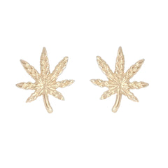 14K Gold Marijuana Leaf Stud Earrings