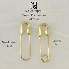 14K Gold Large Size Safety Pin Earring