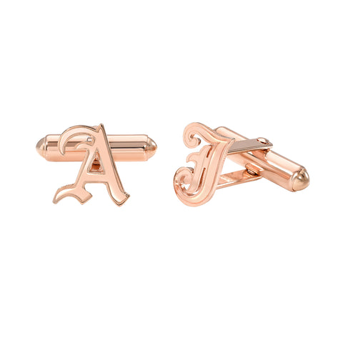 14K Gold Initial Letter Cuff Links ~ Old English Font