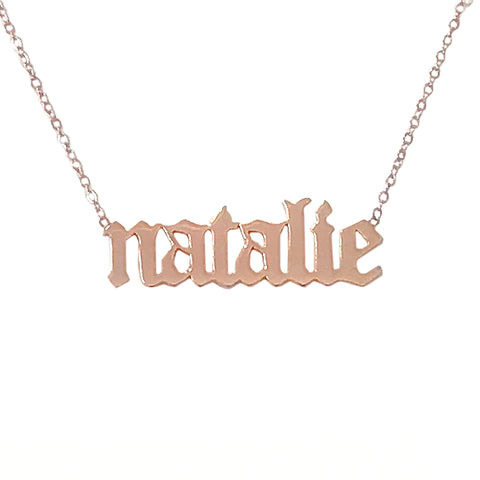 14K Gold Single Nameplate Pendant Necklace ~ Old English Font