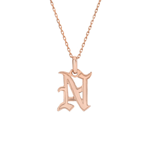 14K Gold Old English Font Initial Charm Pendant Necklace