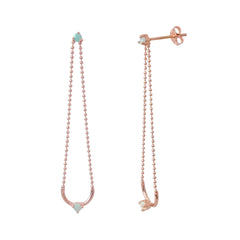 14K Gold Opal Ball Chain Dangle Earrings