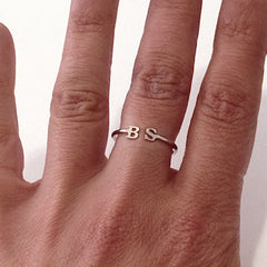 14K Gold Open Double Initial Letter Ring