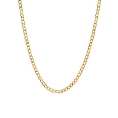 14K Gold Open Curb Link Chain Necklace, Medium Size Link