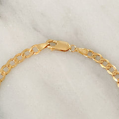 14K Gold Open Curb Link Chain Bracelet, Small Size Links