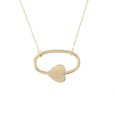 14K Gold Oval Shaped Carabiner Heart Lock Charm Necklace