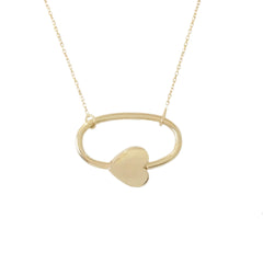 14K Gold Oval Shaped Heart Lock Charm Necklace