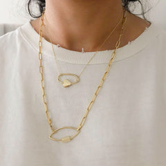 14K Gold Thin Elongated Oval Link Chain Necklace, Large Size Link ~ In Stock!