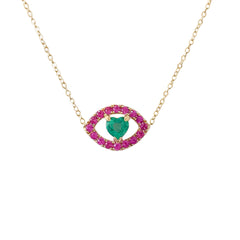 14K Gold & Emerald Heart & Pink Sapphire Gemstone Evil Eye Necklace