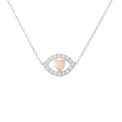 14K Gold Opal Heart & Diamond Evil Eye Necklace
