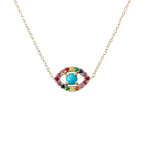 14K Gold & Rainbow Gemstone Evil Eye Necklace