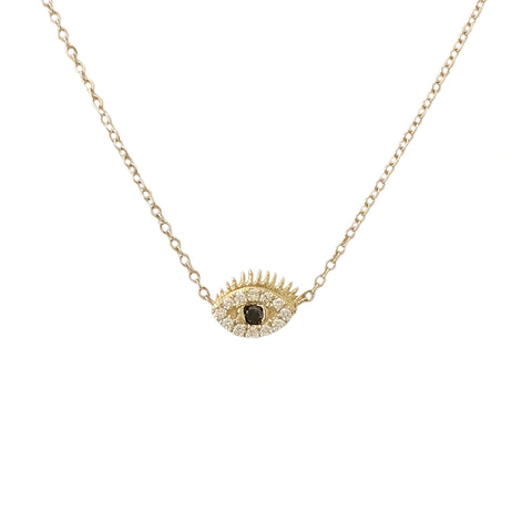 14K Gold Diamond Evil Eye with Lashes Necklace ~ XS Size