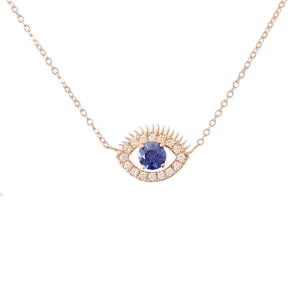 14K Gold Large Size Diamond & Sapphire Evil Eye Lashes Necklace