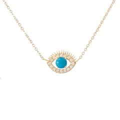 14K Gold Large Size Diamond & Turquoise Evil Eye Lashes Necklace