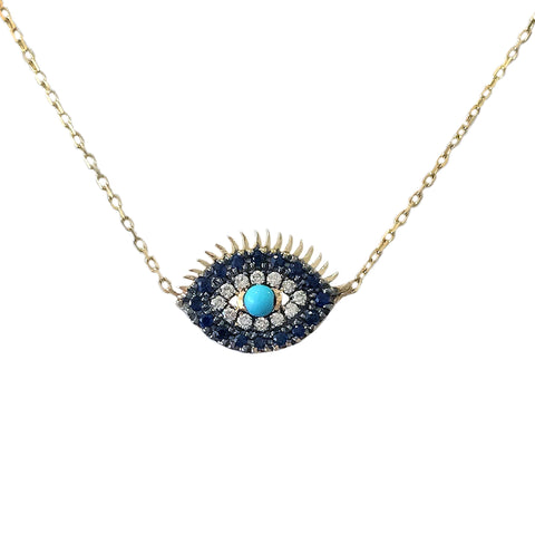 14K Gold Diamond, Sapphire & Turquoise Evil Eye Lashes Necklace ~ Large Size