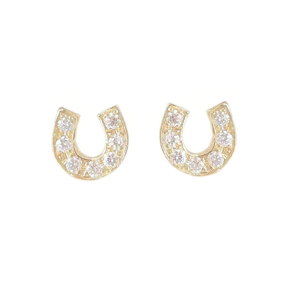 14K Gold Pavé Diamond XS Horseshoe Stud Earrings