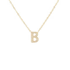 14K Gold Pavé Diamond Initial Charm Pendant Necklace