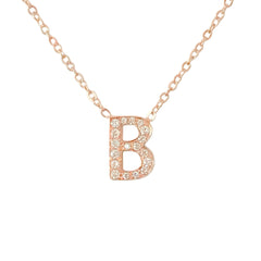 14K Gold & Pavé Diamond Initial Charm Pendant Necklace