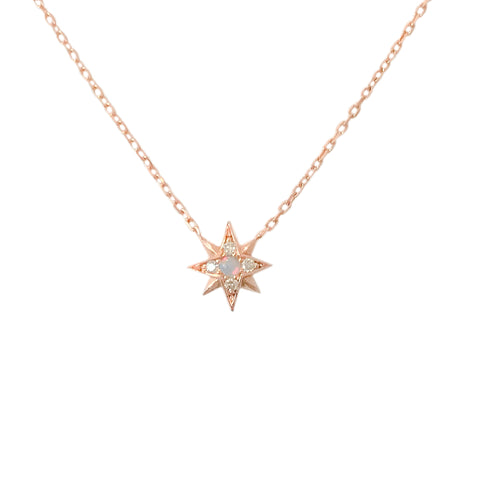14K Gold Opal & Pavé Diamond Starburst Pendant Necklace, Small Size