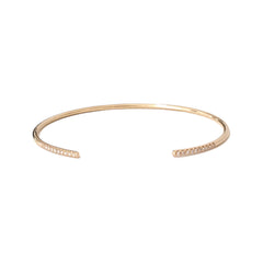 14K Gold & Pavé Diamond Open Wire Cuff Bracelet
