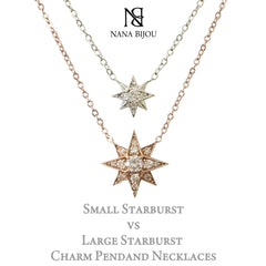 14K Gold Opal & Pavé Diamond Starburst Pendant Necklace, Large Size