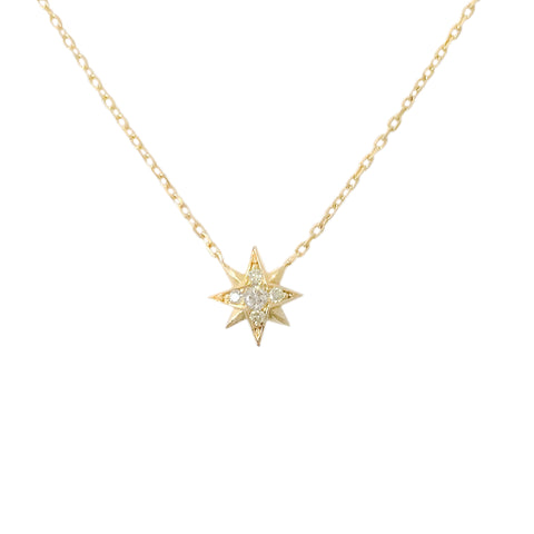 14K Gold Pavé Diamond Starburst Pendant Necklace, Small Size