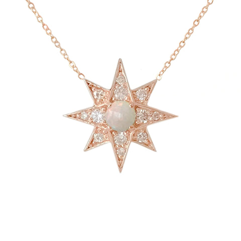 14K Gold Opal & Pavé Diamond Starburst Pendant Necklace, Large Size ~ In Stock!