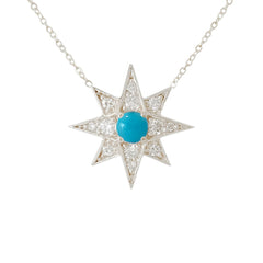 14K Gold Pavé Diamond & Turquoise Starburst Pendant Necklace, Large Size