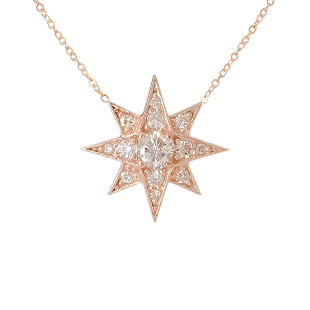 14K Gold & Pavé Diamond Starburst Pendant Necklace