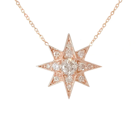 14K Gold & Pavé Diamond Starburst Pendant Necklace, Large Size ~ In Stock!