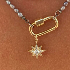 14K Gold Pavé Diamond Starburst Pendant Necklace, Large Size