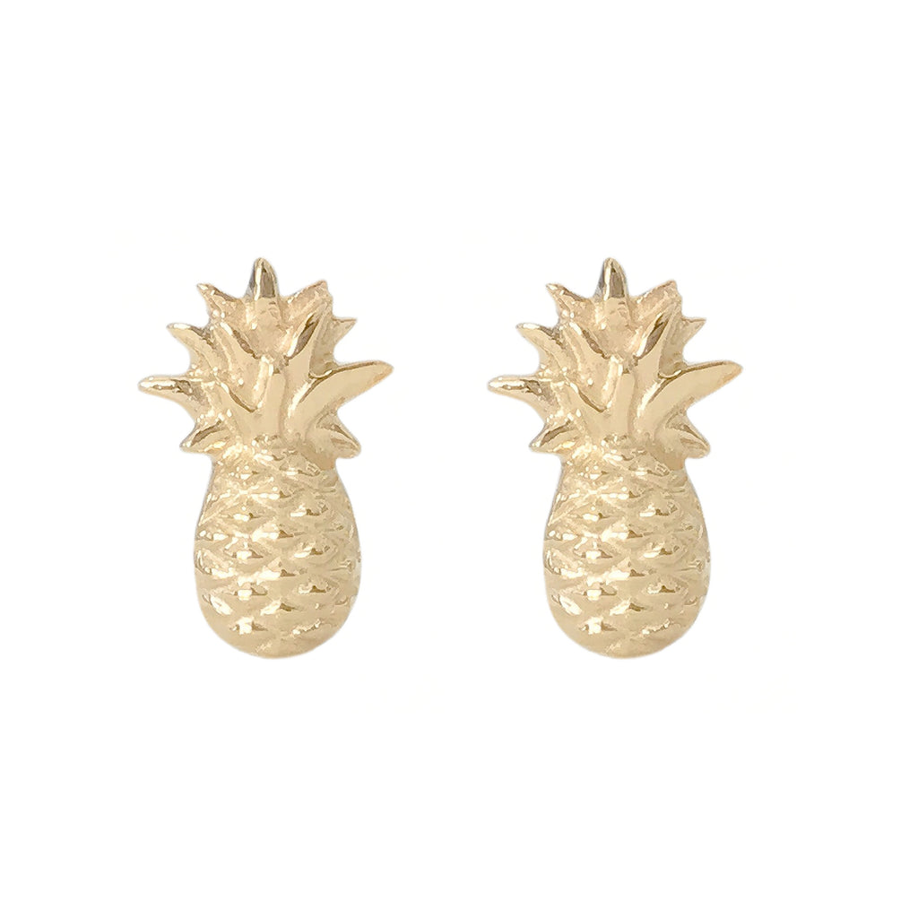 14K Gold Pineapple Stud Earrings