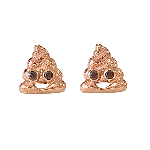 14K Gold Black Diamond Poop Emoji Stud Earrings