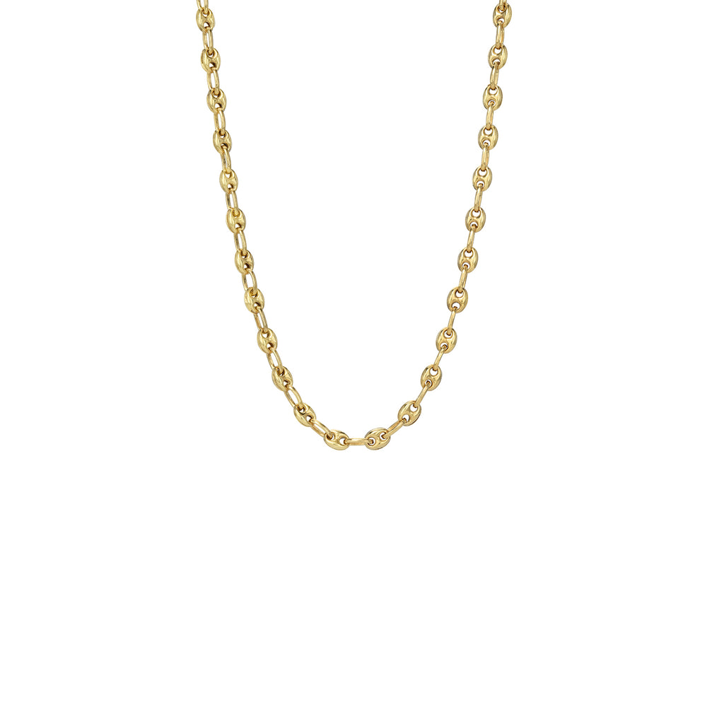14K Gold Puffy Mariner Anchor Link Chain Necklace, 4mm Size ~ In Stock!