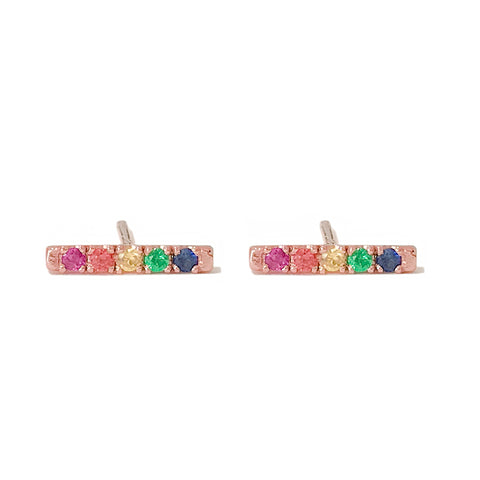 14K Gold Small Pavé Rainbow Gemstone Bar Stud Earrings