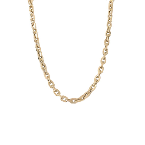 14K Gold Thick Flat Oval Rolo Link Chain Necklace, Small Size ~ In Stock!