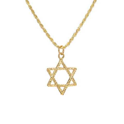 14K Gold Star of David Rope Style Pendant Necklace