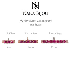 14K Gold XS Pavé Ruby Bar Stud Earrings