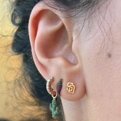 "14K Gold ""SD"" Initials Stud Earring"