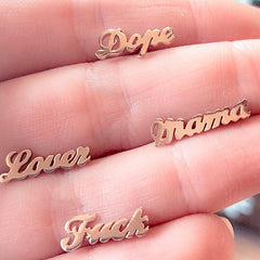 14K Gold Nameplate Stud Earrings, Script Font