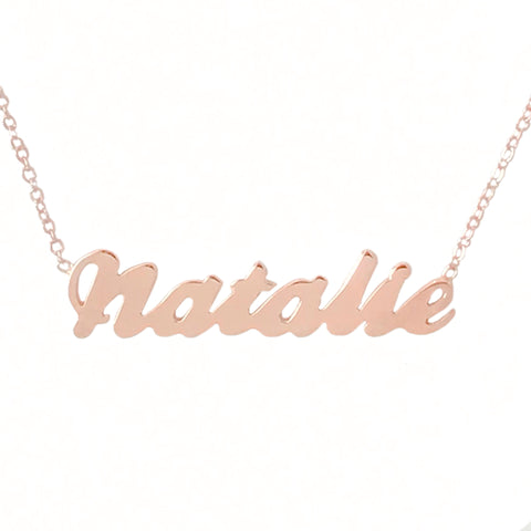 14K Gold Single Nameplate Pendant Necklace ~ Script Font