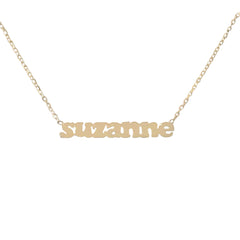 14K Gold Single Nameplate Pendant Necklace ~ Block Font