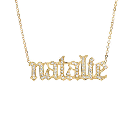 14K Gold Pavé Diamond Single Nameplate Pendant Necklace ~ Old English Font